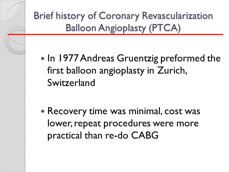 Brief history of Coronary Revascularization Balloon Angioplasty (PTCA)