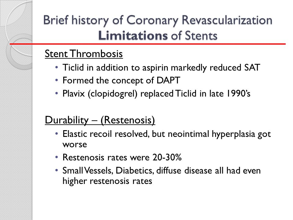 Brief history of Coronary Revascularization Limitations of Stents