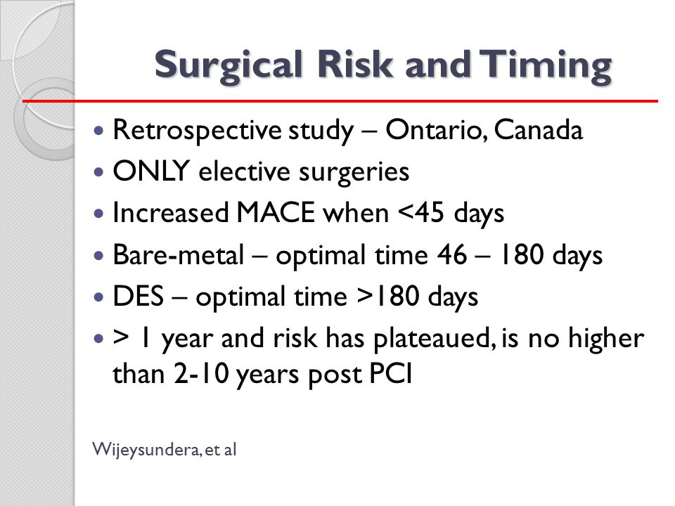 Surgical Risk and Timing