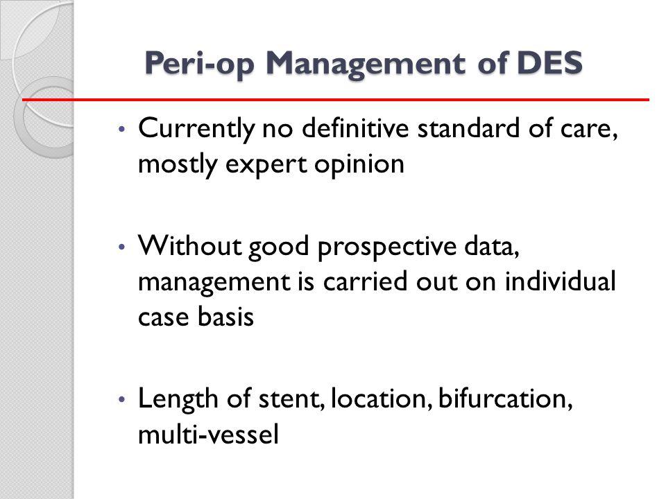 Peri-op Management of DES