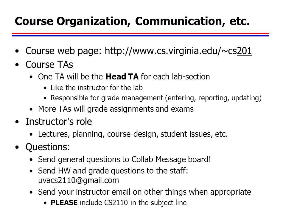 Course Organization, Communication, etc.