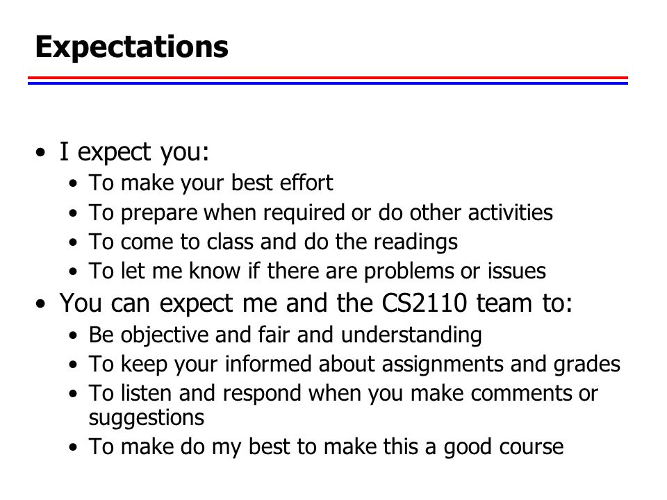 Expectations I expect you: You can expect me and the CS2110 team to: