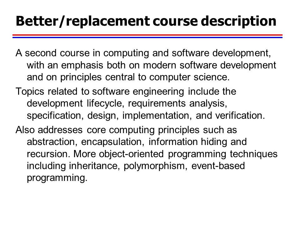 Better/replacement course description