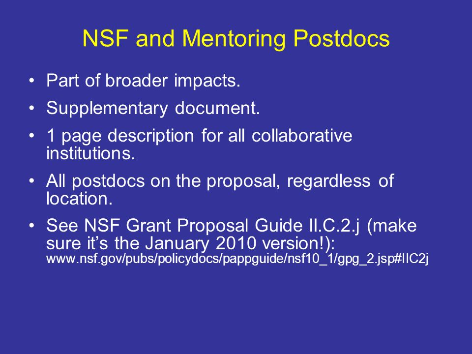 NSF and Mentoring Postdocs