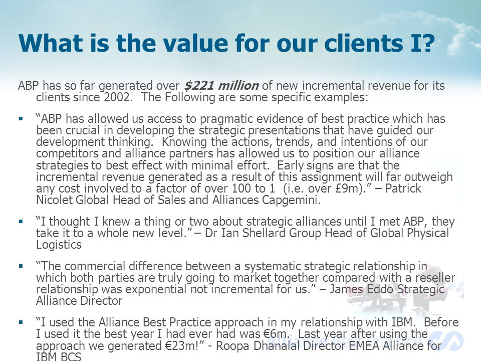 What is the value for our clients I