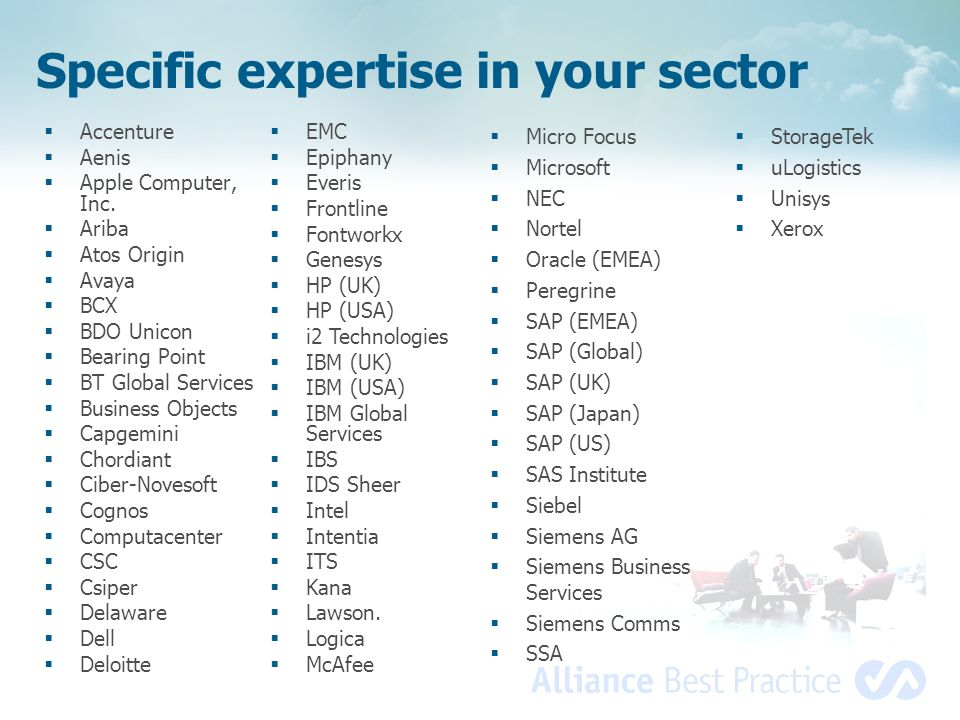 Specific expertise in your sector