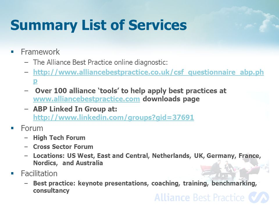 Summary List of Services