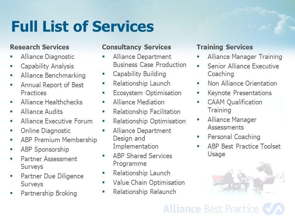 Full List of Services Research Services Alliance Diagnostic
