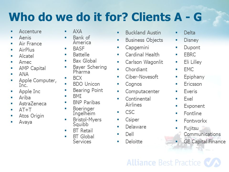 Who do we do it for Clients A - G