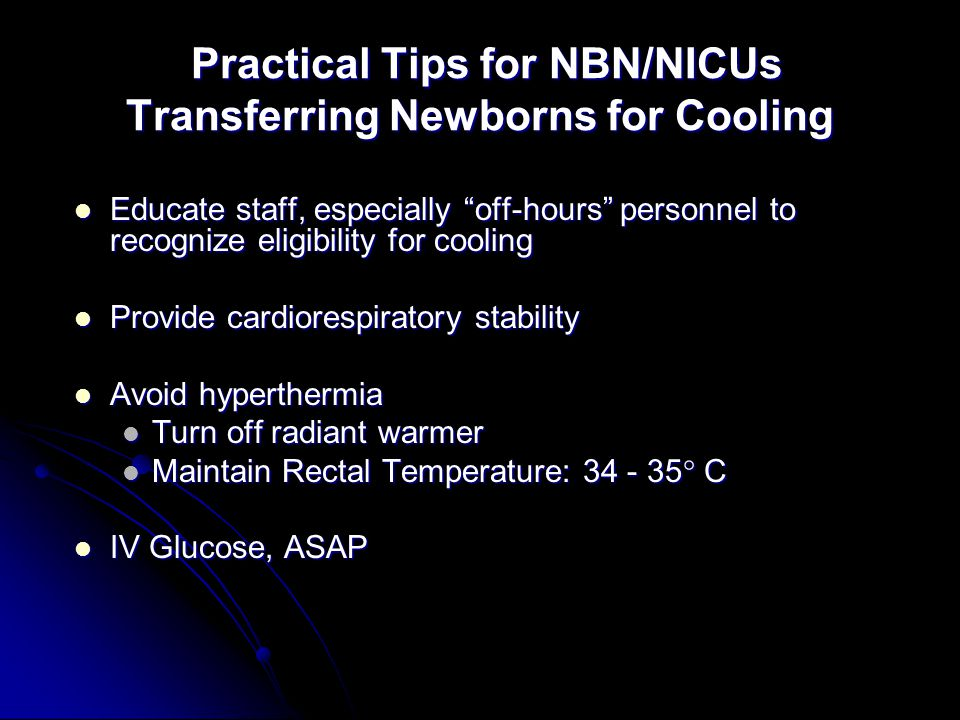 Practical Tips for NBN/NICUs Transferring Newborns for Cooling