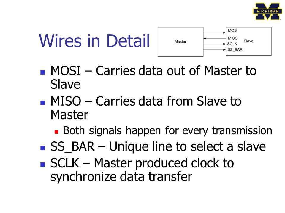 Wires in Detail MOSI – Carries data out of Master to Slave