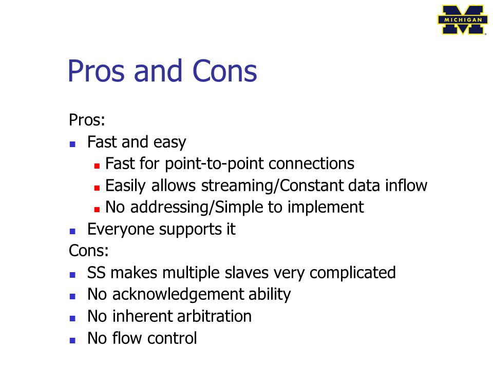 Pros and Cons Pros: Fast and easy Fast for point-to-point connections