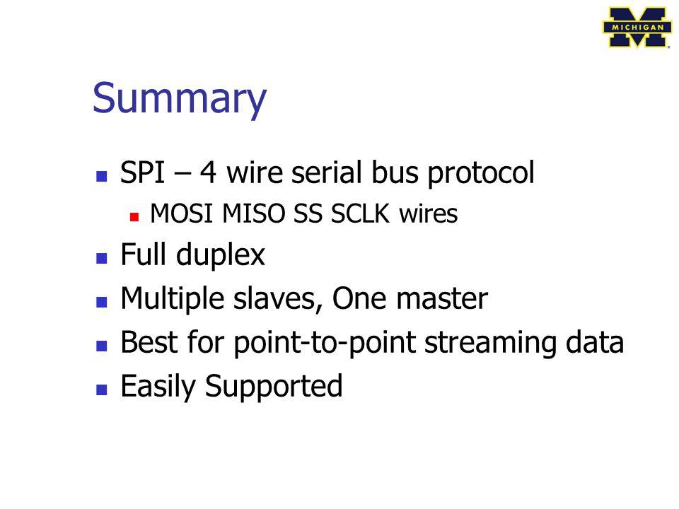 Summary SPI – 4 wire serial bus protocol Full duplex