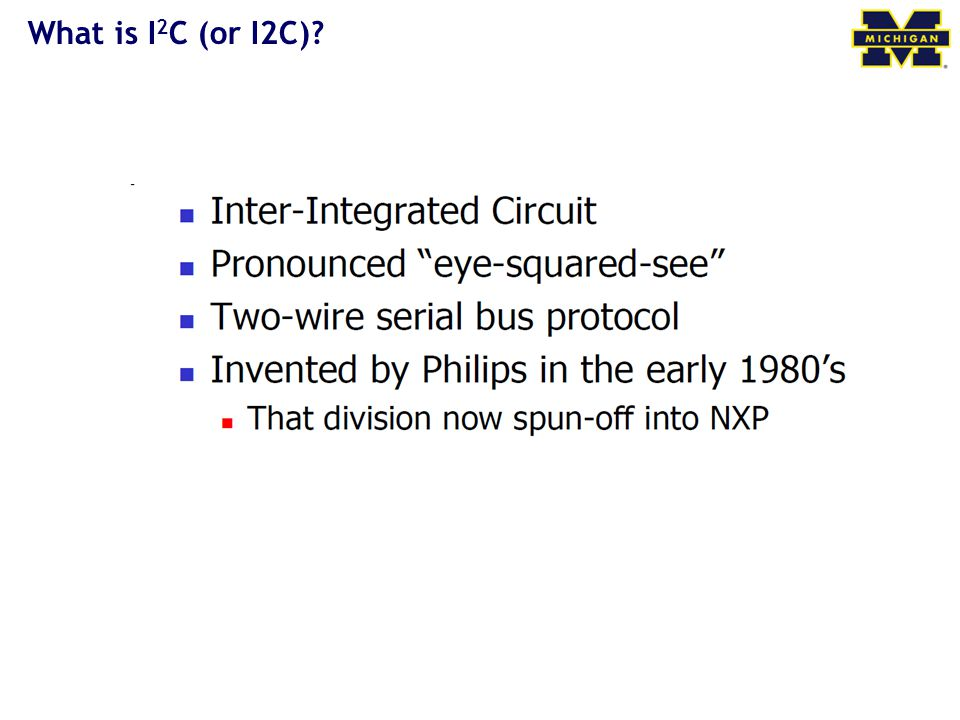 What is I2C (or I2C)