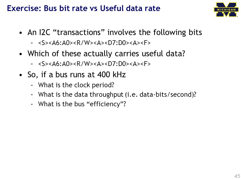 Exercise: Bus bit rate vs Useful data rate