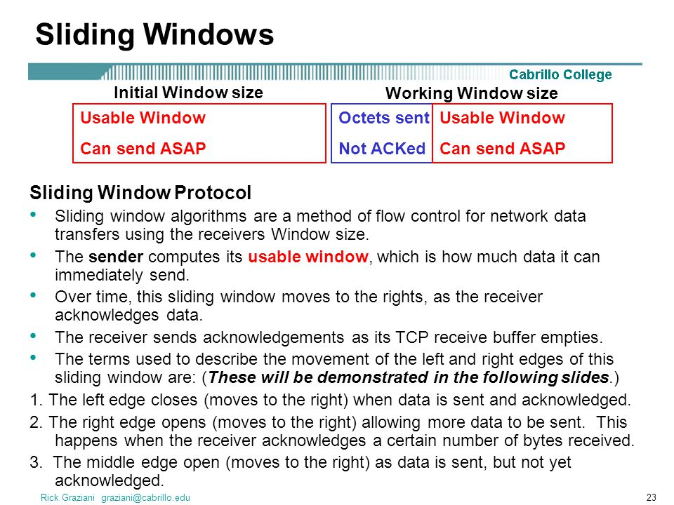 Sliding Windows Sliding Window Protocol Initial Window size