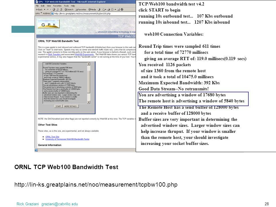 ORNL TCP Web100 Bandwidth Test