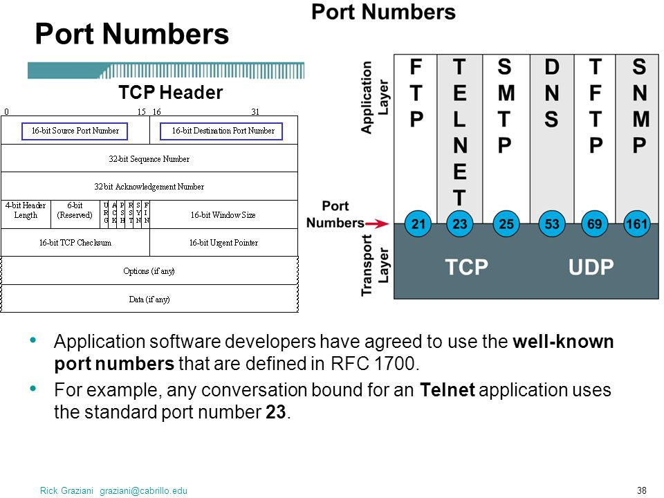 Port Numbers TCP Header