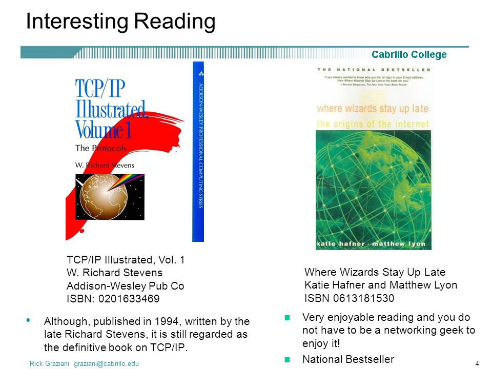 Interesting Reading TCP/IP Illustrated, Vol. 1 W. Richard Stevens Addison-Wesley Pub Co ISBN: 0201633469.