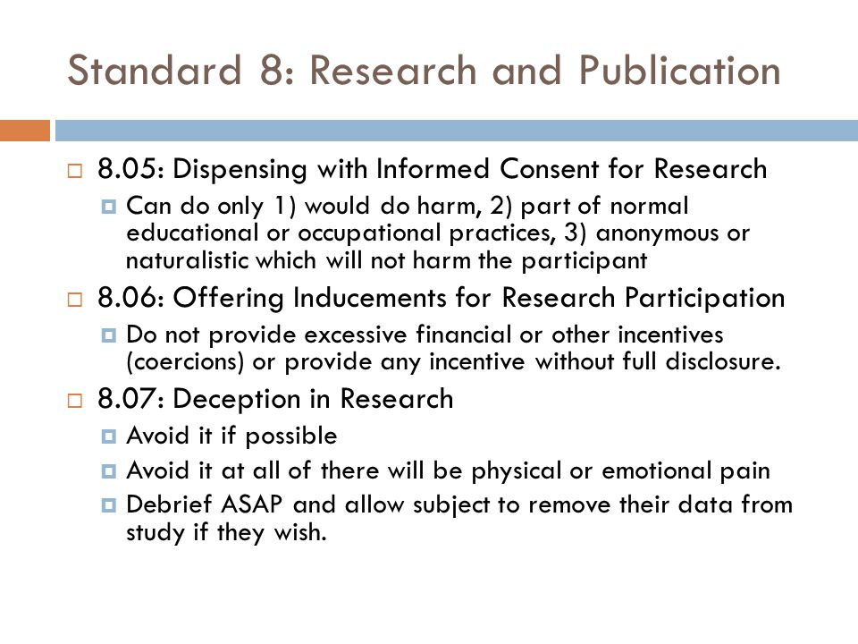 Standard 8: Research and Publication