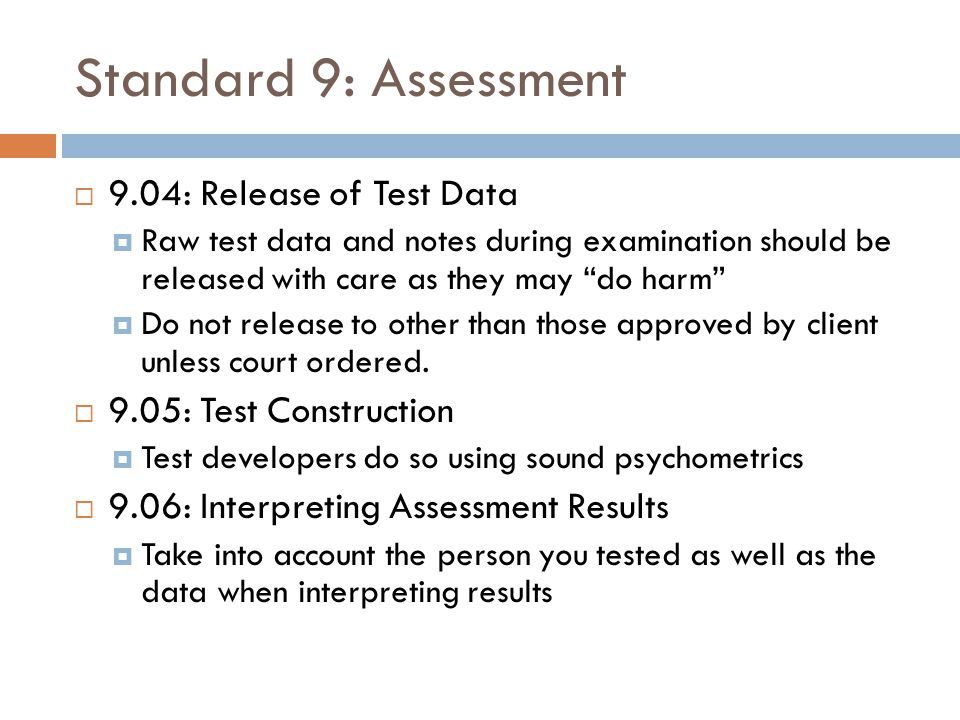 Standard 9: Assessment 9.04: Release of Test Data