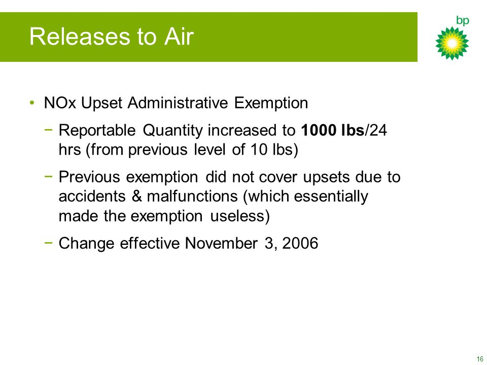 Releases to Air NOx Upset Administrative Exemption