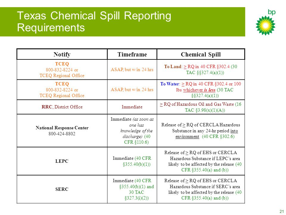 Texas Chemical Spill Reporting Requirements