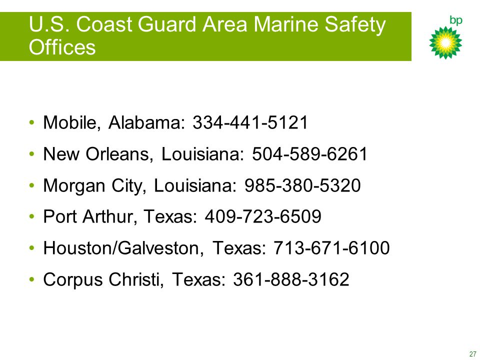 U.S. Coast Guard Area Marine Safety Offices