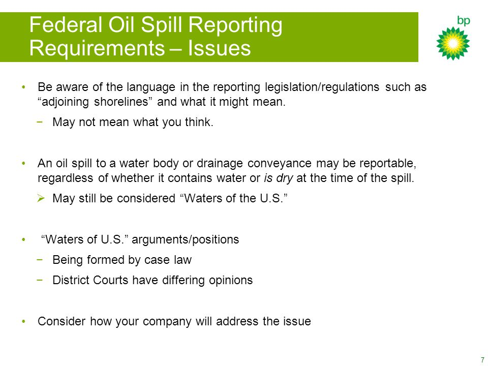 Federal Oil Spill Reporting Requirements – Issues