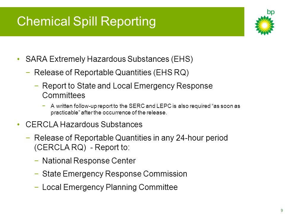 Chemical Spill Reporting