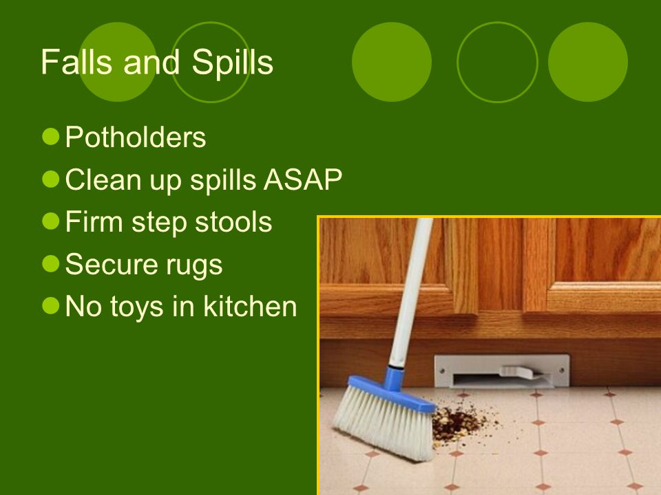 Falls and Spills Potholders Clean up spills ASAP Firm step stools