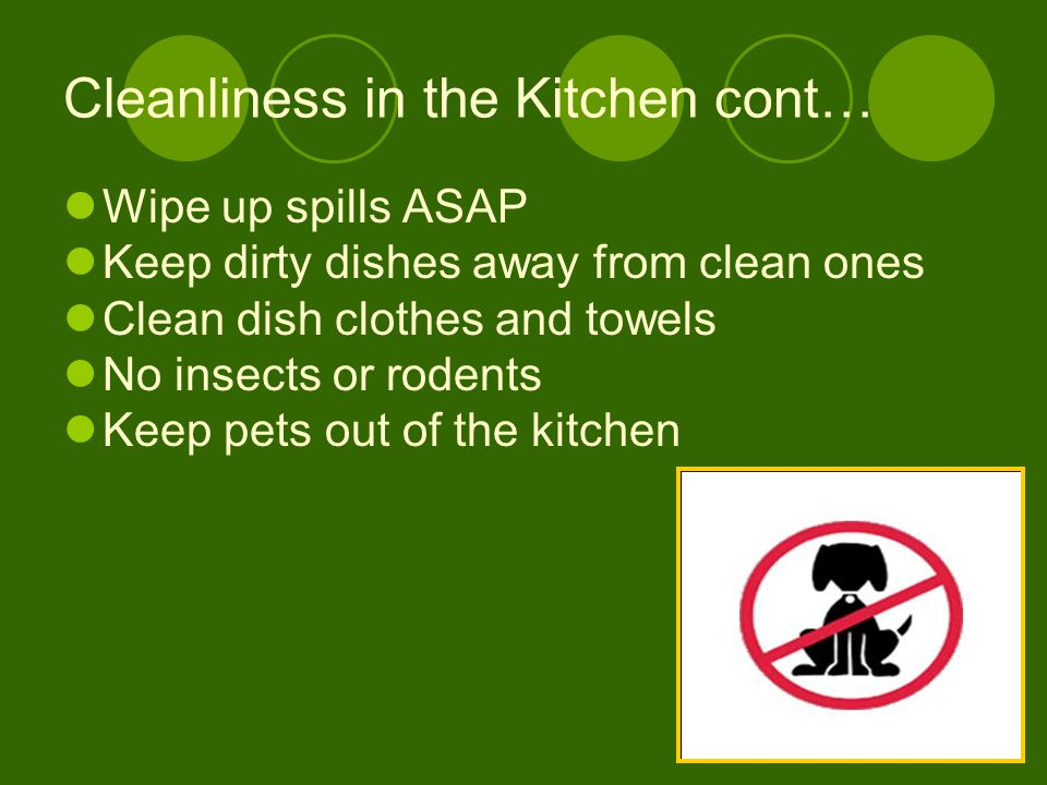 Cleanliness in the Kitchen cont…