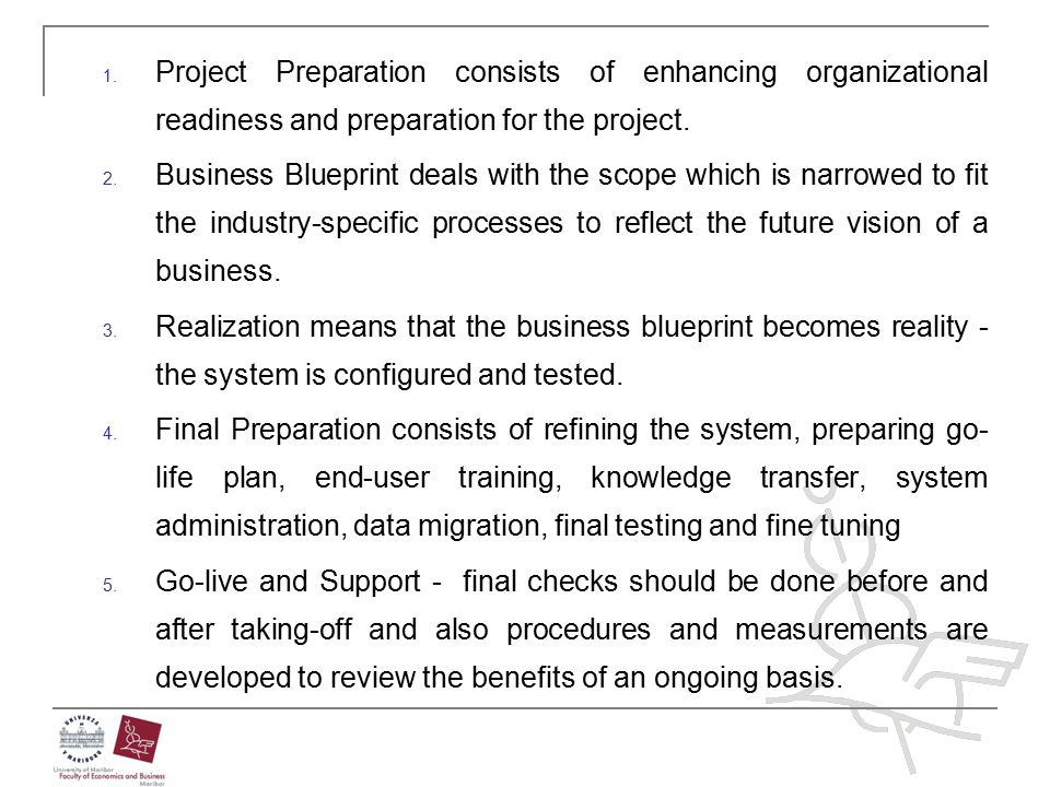 Project Preparation consists of enhancing organizational readiness and preparation for the project.