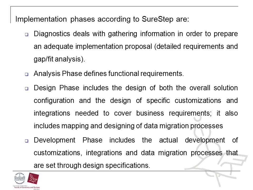 Implementation phases according to SureStep are: