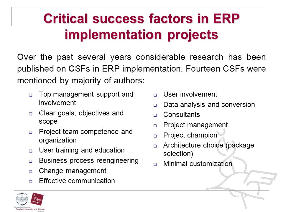 Critical success factors in ERP implementation projects