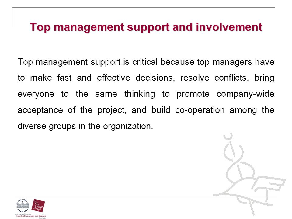 Top management support and involvement