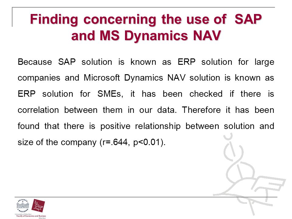 Finding concerning the use of SAP and MS Dynamics NAV