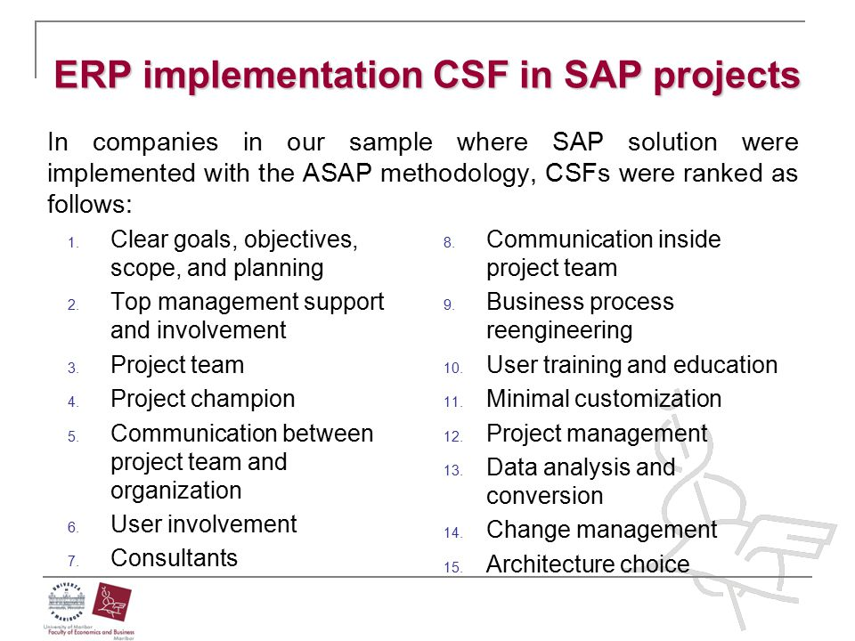 ERP implementation CSF in SAP projects