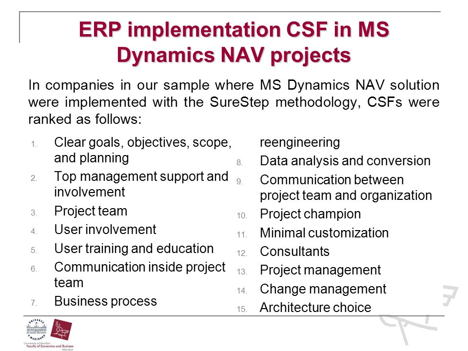ERP implementation CSF in MS Dynamics NAV projects