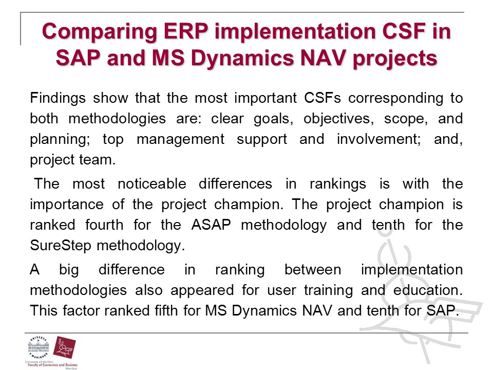 Comparing ERP implementation CSF in SAP and MS Dynamics NAV projects