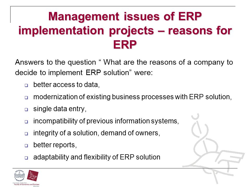 Management issues of ERP implementation projects – reasons for ERP