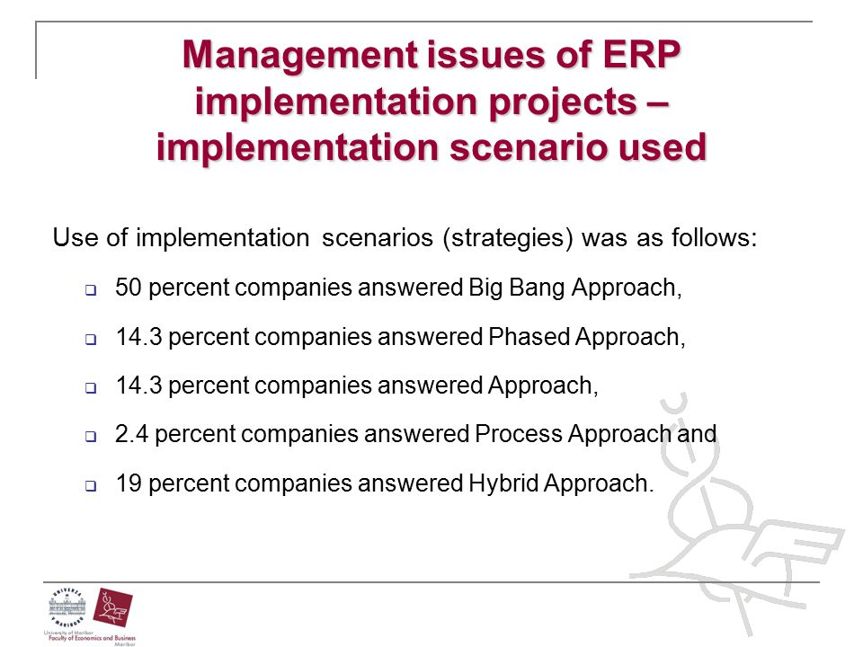 Management issues of ERP implementation projects – implementation scenario used