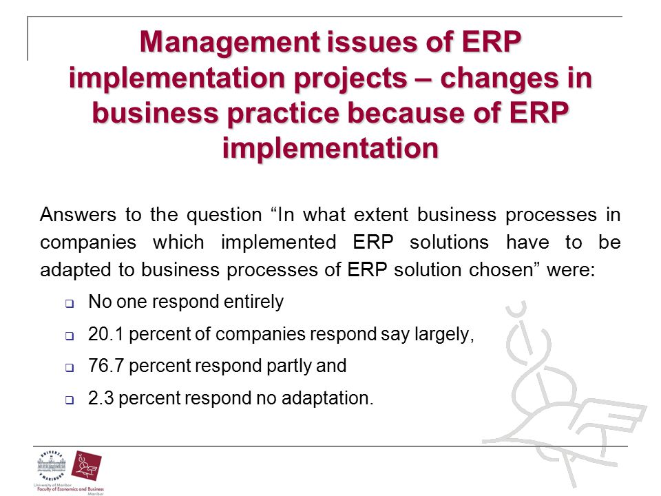 Management issues of ERP implementation projects – changes in business practice because of ERP implementation