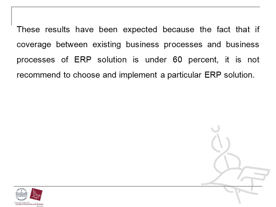 These results have been expected because the fact that if coverage between existing business processes and business processes of ERP solution is under 60 percent, it is not recommend to choose and implement a particular ERP solution.