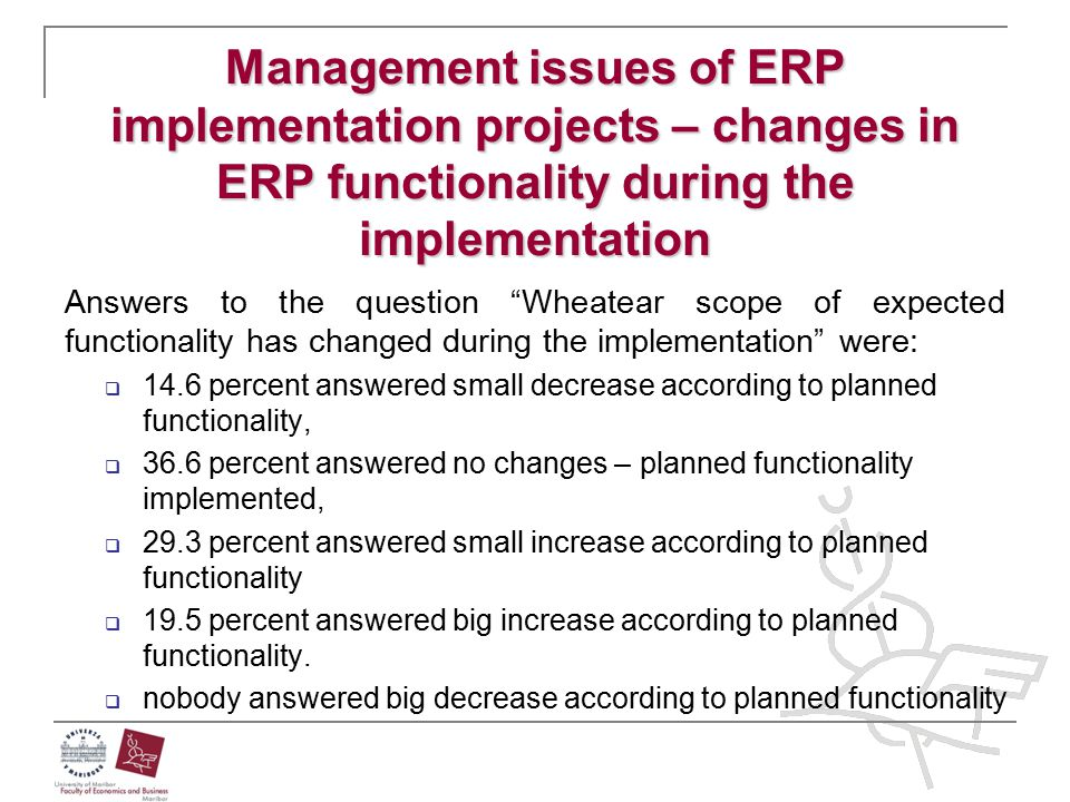 Management issues of ERP implementation projects – changes in ERP functionality during the implementation