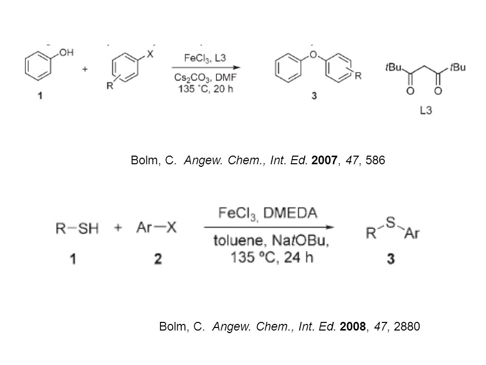 Bolm, C. Angew. Chem., Int. Ed. 2007, 47, 586 Bolm, C. Angew. Chem., Int. Ed. 2008, 47, 2880