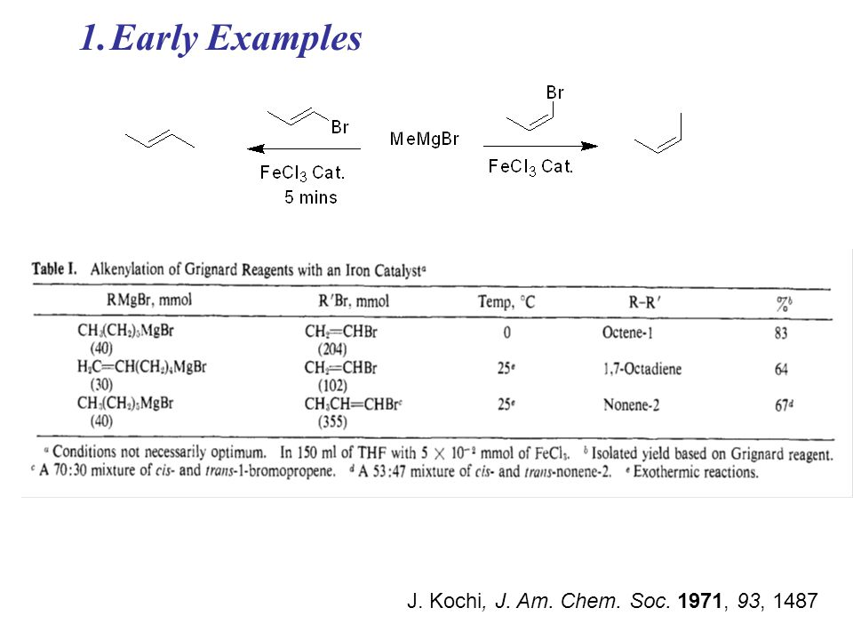 Early Examples J. Kochi, J. Am. Chem. Soc. 1971, 93, 1487