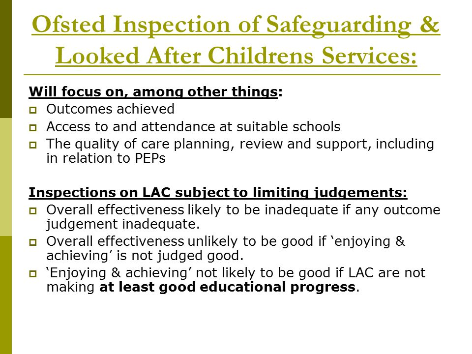 Ofsted Inspection of Safeguarding & Looked After Childrens Services: