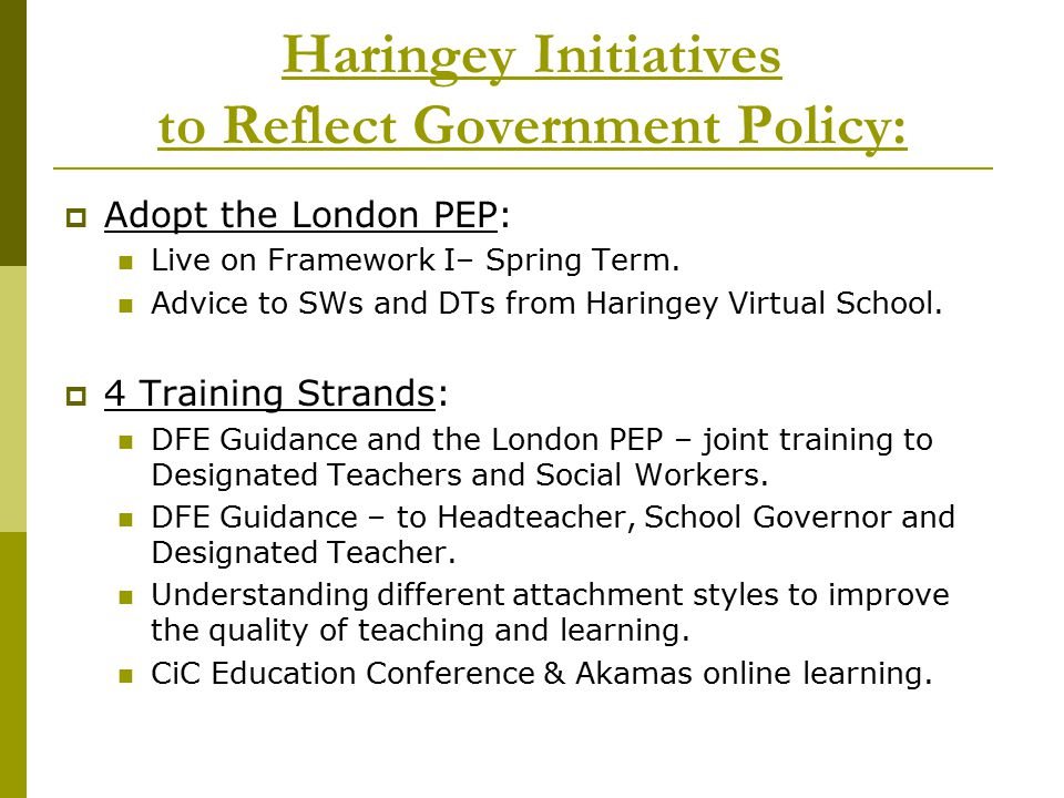 Haringey Initiatives to Reflect Government Policy: