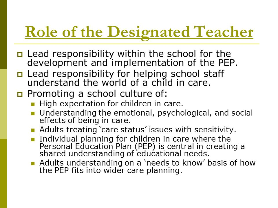 Role of the Designated Teacher